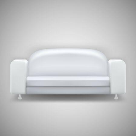 white sofa: Realistic white sofa isolated on white background. Sofa illustration.