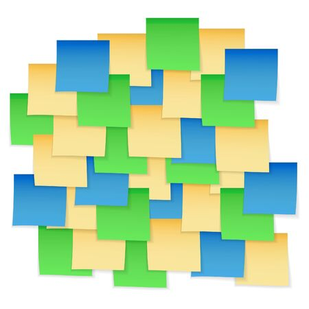 stick note: Yellow, green an blue stick notes. Stickers isolated. Stick note illustration. Illustration