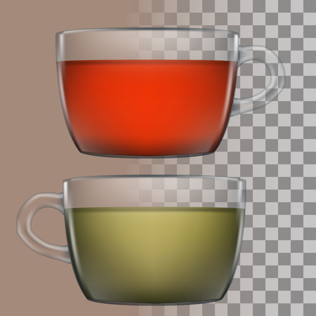 green tea cup: Cups of black and green tea. Cup of tea with transparency. Black and green tea. Transparent background. Cup of tea on transparent background. illustration.