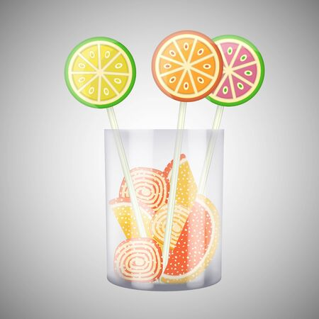 lollipops: Lollipops and candies in cup. Sweet candies and lollipops.  illustration.