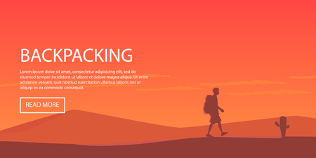 backpacking: Climbing, hiking, backpacking, walking. Outdoor, sport, nature. Flat design. Outdoor recreation concept. Travel with backpack. Camping. Landscape.