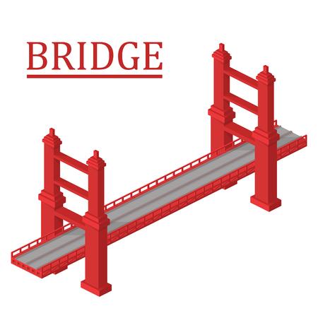 bridge over water: isometric bridge. Bridge isolated on white background.