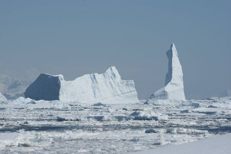 A large iceberg in the Strait clogged with ice. Stock Photo - 11920002