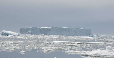 Tabular iceberg in the ocean. photo