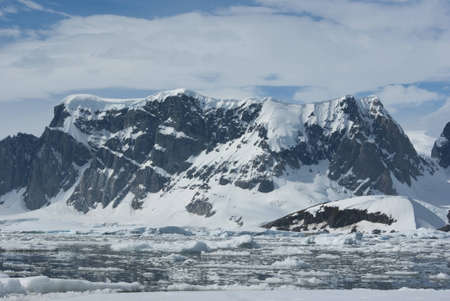 The mountains on the coast of the Antarctic Peninsula photo