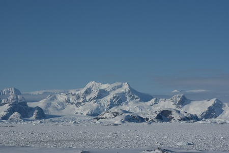 The mountains on the Antarctic Peninsula  photo