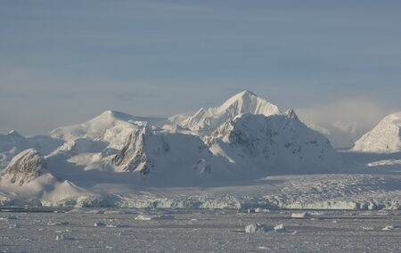 Antarctic mountains in winter on a sunny day.