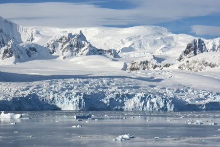 The glaciers on the coast of the western Antarctic Peninsula a sunny summer afternoon. photo