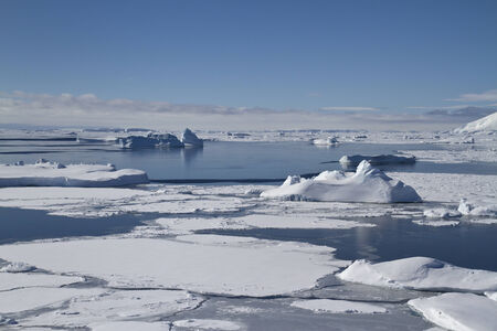 Southern Ocean and Antarctic islands near the Antarctic Peninsula in winter Stock Photo