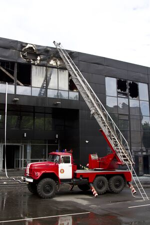 consequences of a fire in a Druzhba sports complex in the city of Donetsk during a military confrontation Stock Photo