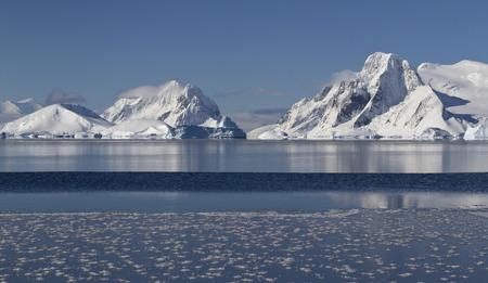 antarctic peninsula: mountains and islands of the Antarctic Peninsula in winter sunny day