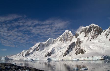 antarctic peninsula: mountain range on one of the islands near the Antarctic Peninsula summer day