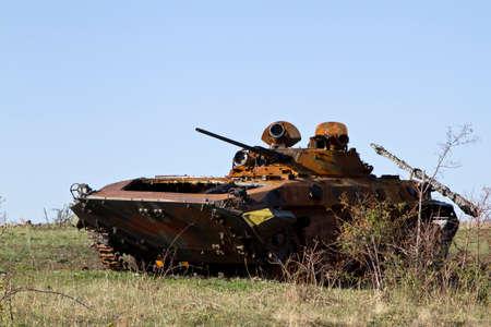 Burned infantry fighting vehicle in the desert near the Saur-Grave photo