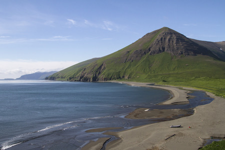 Lisinski bay summer landscape in the south-western part of Bering Island