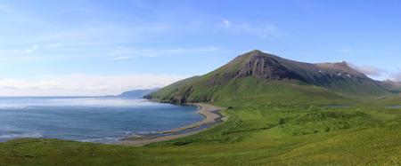 panorama of the  Lisinski bay Bering Island summer day
