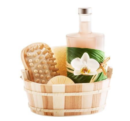 aseo personal: Fije para un baño sauna o aisladas en el fondo blanco Foto de archivo
