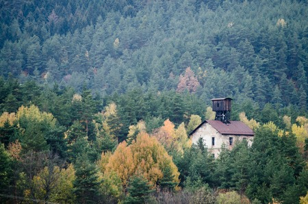 Historical mine building in the pine forest - Slovakia, Europe Stok Fotoğraf