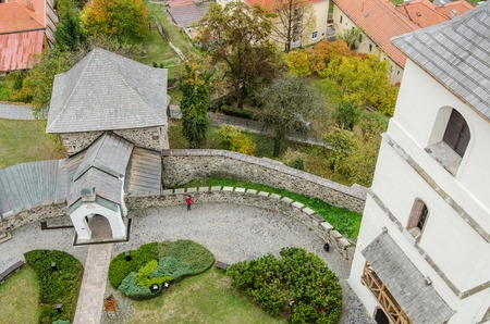 Garden of a fortificated church from above - Slovakia - cultural heritage from Europe Stok Fotoğraf