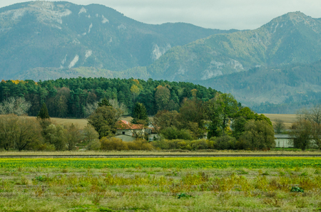 Ladnscape from Slovakia - green meadows and fields and mountains