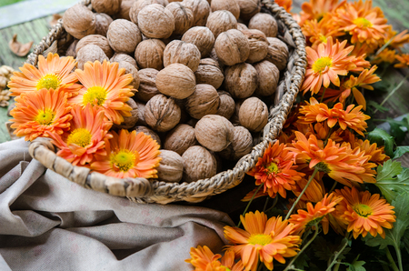 Walnut in a basket - traditional vintage interior from the garden table - Europe autumn scene