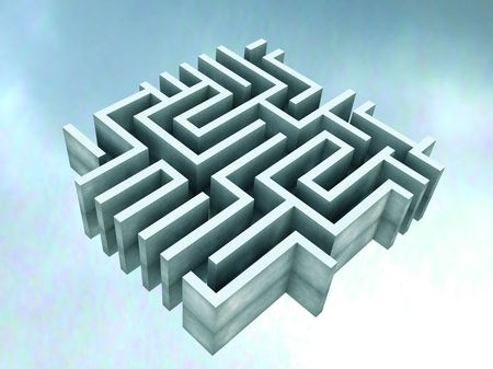 disoriented: Illustration of a Labyrinth Stock Photo