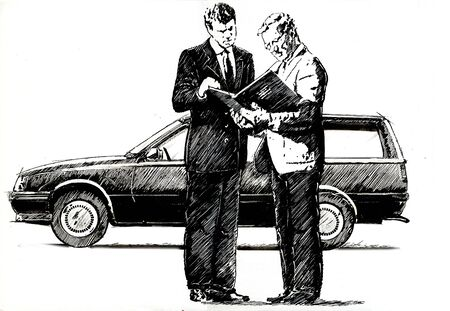 drawed: Car seller Stock Photo