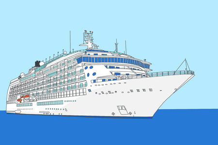Illustration of  white cruise ship on a background of sea and sky Vector