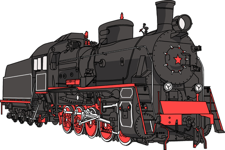 Big black locomotive with a pipe isolated on white  Illustration