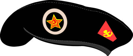military beret: black beret Soviet Marines isolated on white