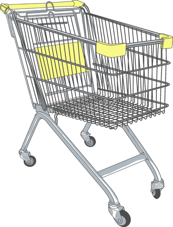 super market: shopping cart in a supermarket on wheels