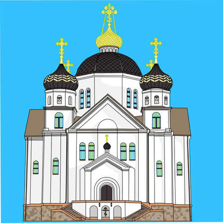 church bell: Illustration  orthodox church with domes, crosses and bells isolated on a blue