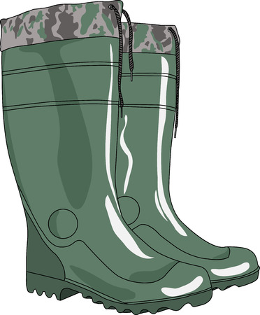 green rubber boots with cuffs and laces