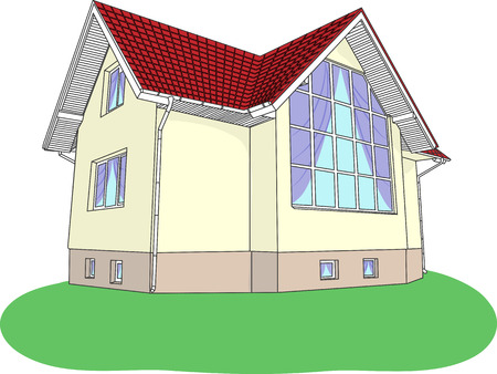 Illustration  house with stained glass, red roof, on a green lawn Vector