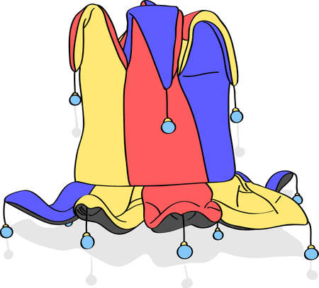 jester hat: red yellow blue venetian carnivalesque jester hat with bells isolated on white