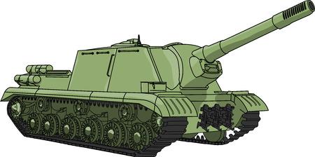 artillery shell: ca��n autopropulsado aislados sobre fondo blanco vector
