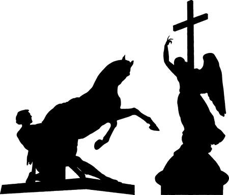 동상: 세인트 피터 즈 버그의 조각 아니 치 코프 다리, 천사 알렉산더 칼럼의 그림 기념물
