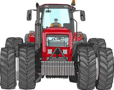 vector powerful heavy wheeled tractor red isolated on white background