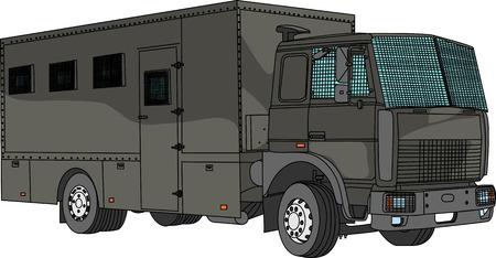 convoy: vector police car for transportation of prisoners