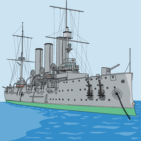 st  petersburg: vector cruiser Aurora st. petersburg