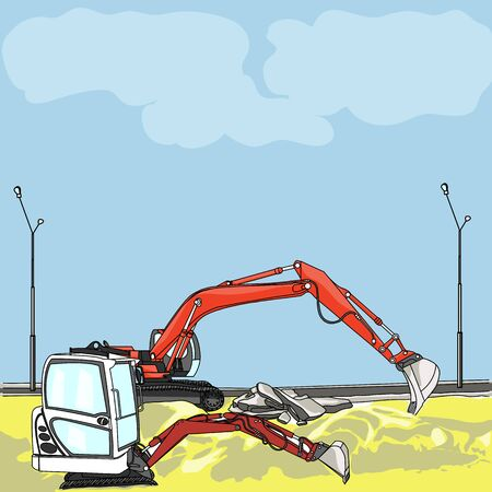 mine site: vector excavator at a construction site on a background of blue sky with clouds Illustration
