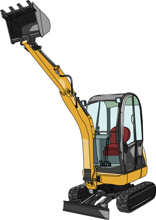 vector yellow caterpillar mini excavator isolated on white background Vector