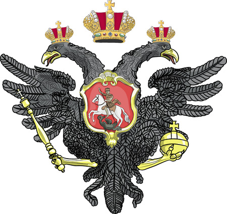 double headed: Russian double-headed eagle coat of arms with crowns isolated on white background