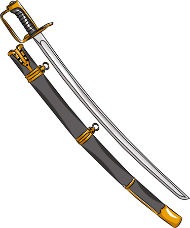 vector cavalry saber and scabbard isolated on white background Illustration