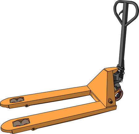 vector yellow pallet truck isolated on white background