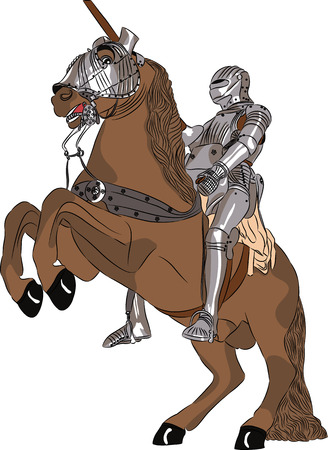 vector middeleeuwse ridder in stalen pantser met een speer te paard