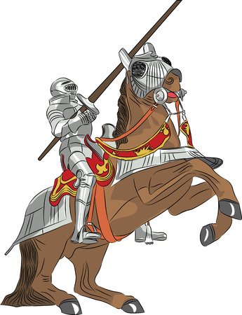 caballero medieval: vector caballero medieval con armadura de acero con una lanza a caballo