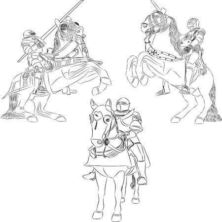 joust: vector outline of mounted knights in armor Illustration