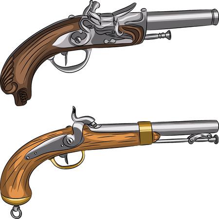 antique pistols: vintage pair of flintlock pistols