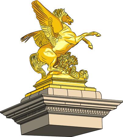 pont: vector golden horse on a pedestal Illustration