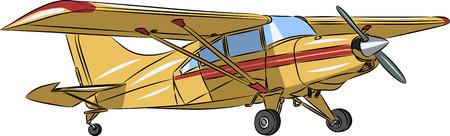 mosca caricatura: vector peque�o avi�n deportivo de color amarillo sobre fondo blanco